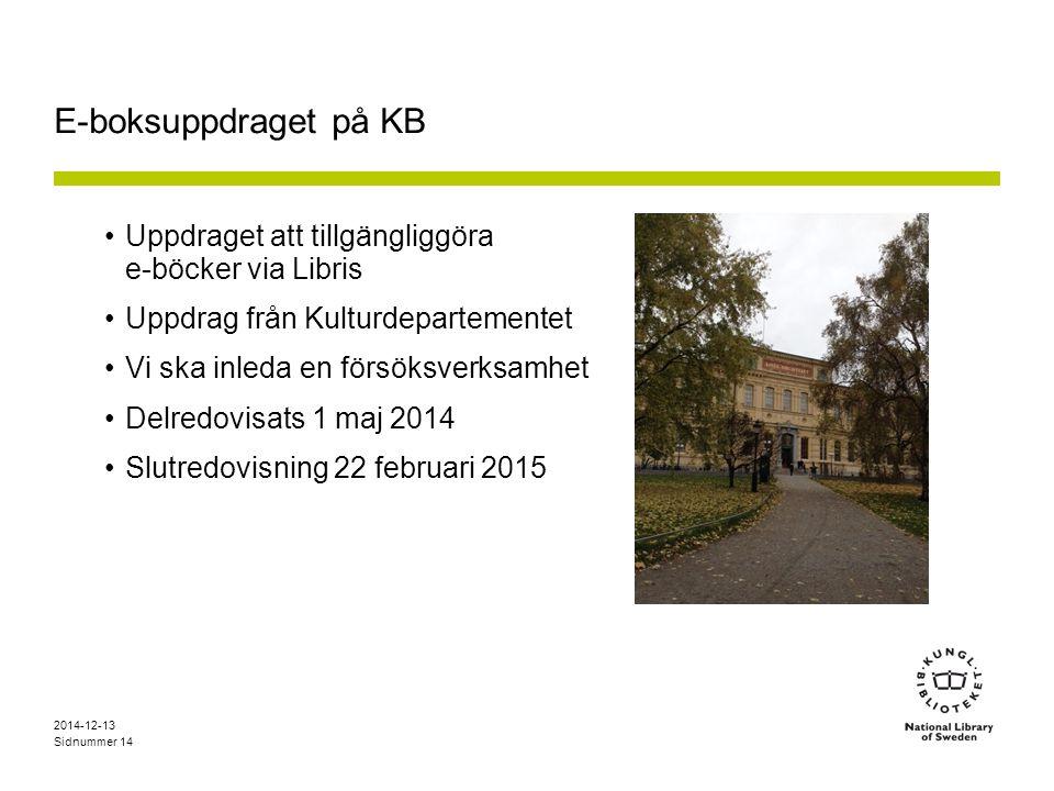 E-boksuppdraget på KB Uppdraget att tillgängliggöra e-böcker via Libris. Uppdrag från Kulturdepartementet.