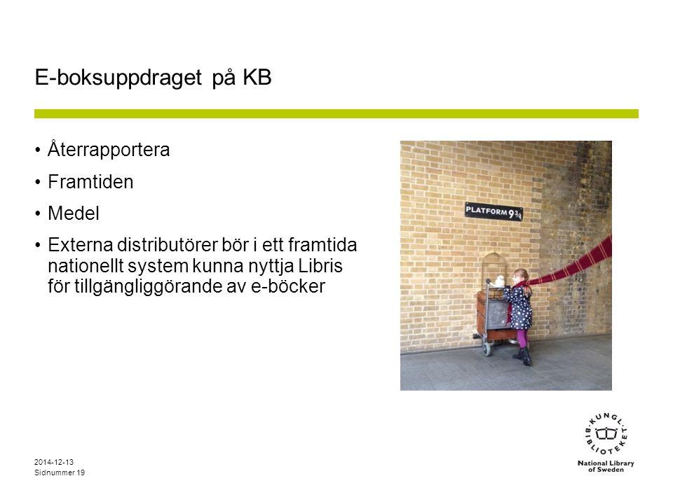 E-boksuppdraget på KB Återrapportera Framtiden Medel