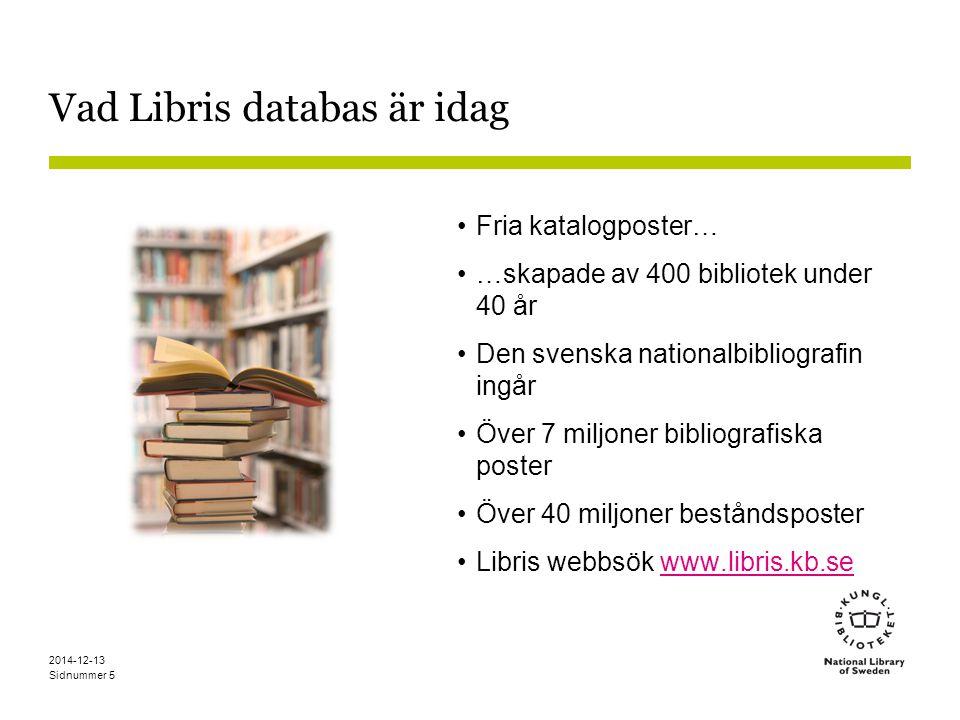 Vad Libris databas är idag