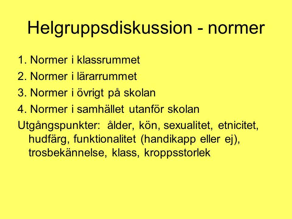 Helgruppsdiskussion - normer