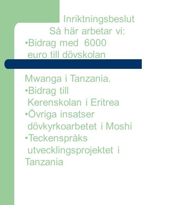 Inriktningsbeslut Så här arbetar vi: Bidrag med 6000. euro till dövskolan. Mwanga i Tanzania. Bidrag till.