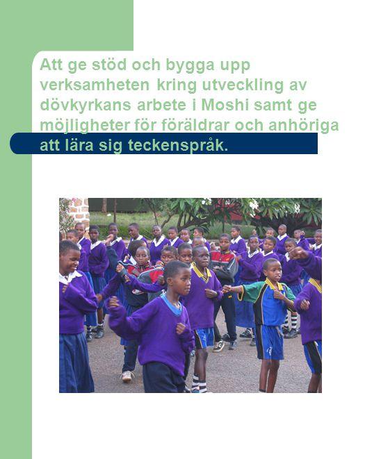 Att ge stöd och bygga upp verksamheten kring utveckling av dövkyrkans arbete i Moshi samt ge möjligheter för föräldrar och anhöriga att lära sig teckenspråk.