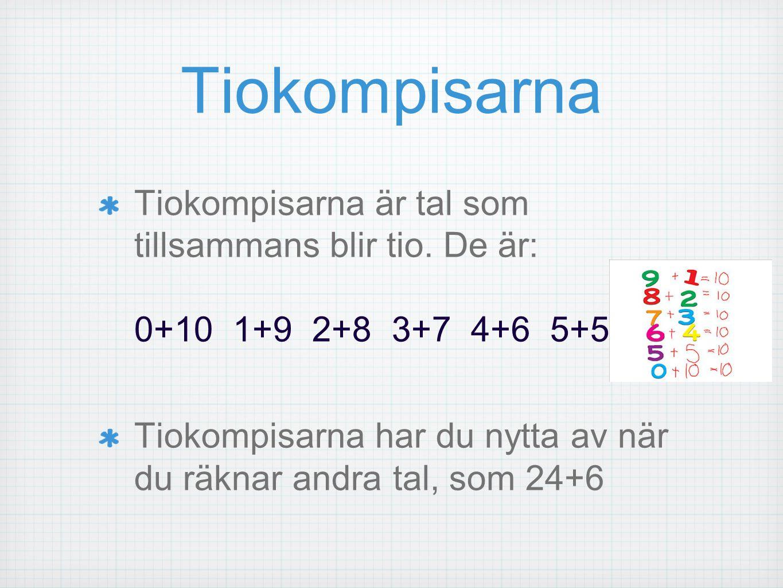 Tiokompisarna Tiokompisarna är tal som tillsammans blir tio. De är: 0+10 1+9 2+8 3+7 4+6 5+5.