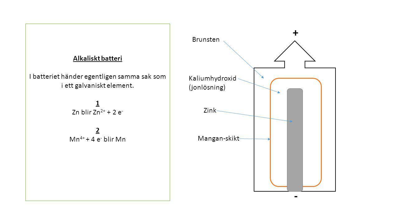 I batteriet händer egentligen samma sak som i ett galvaniskt element.