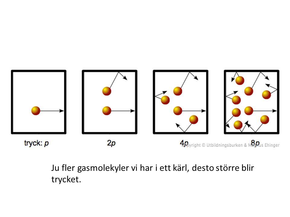 Ju fler gasmolekyler vi har i ett kärl, desto större blir trycket.