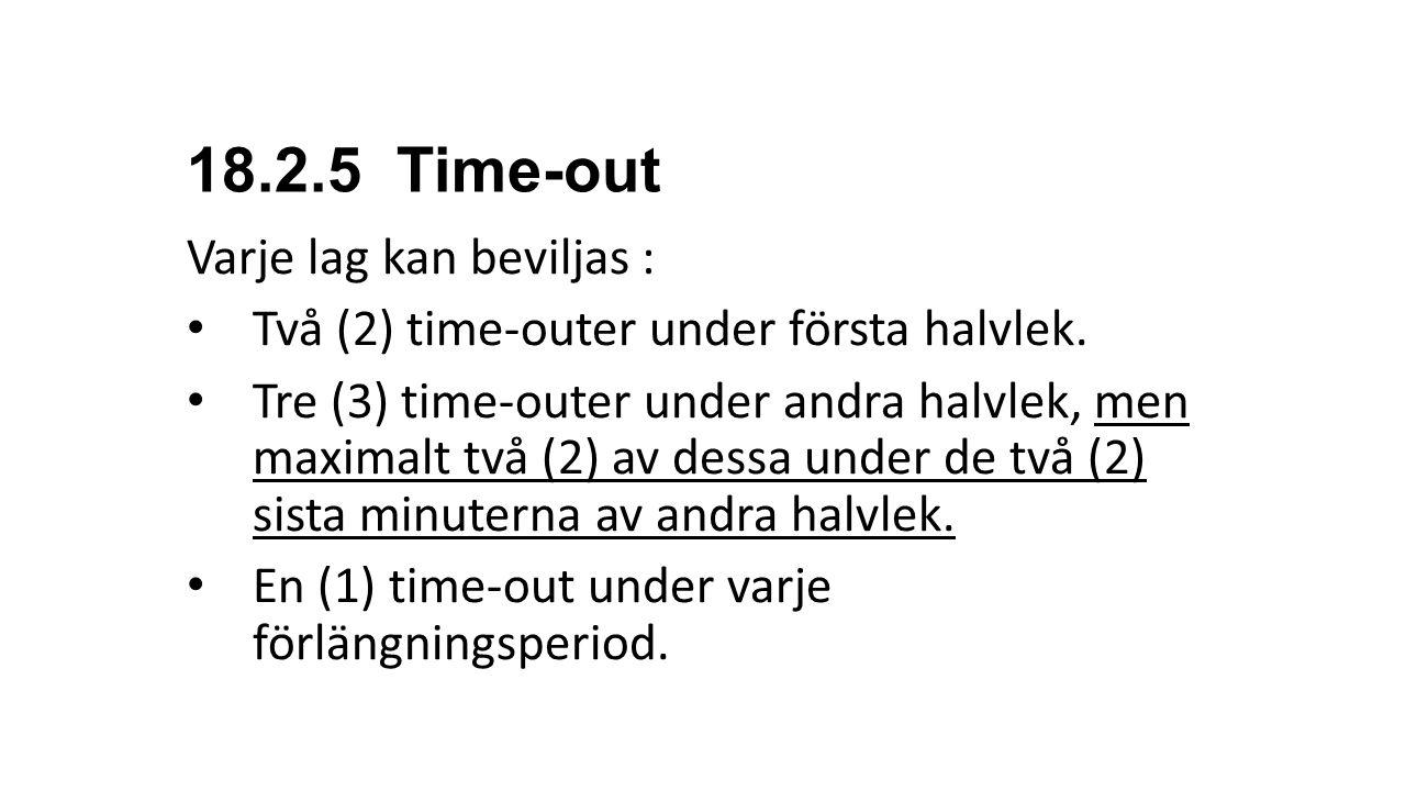 18.2.5 Time-out Varje lag kan beviljas :