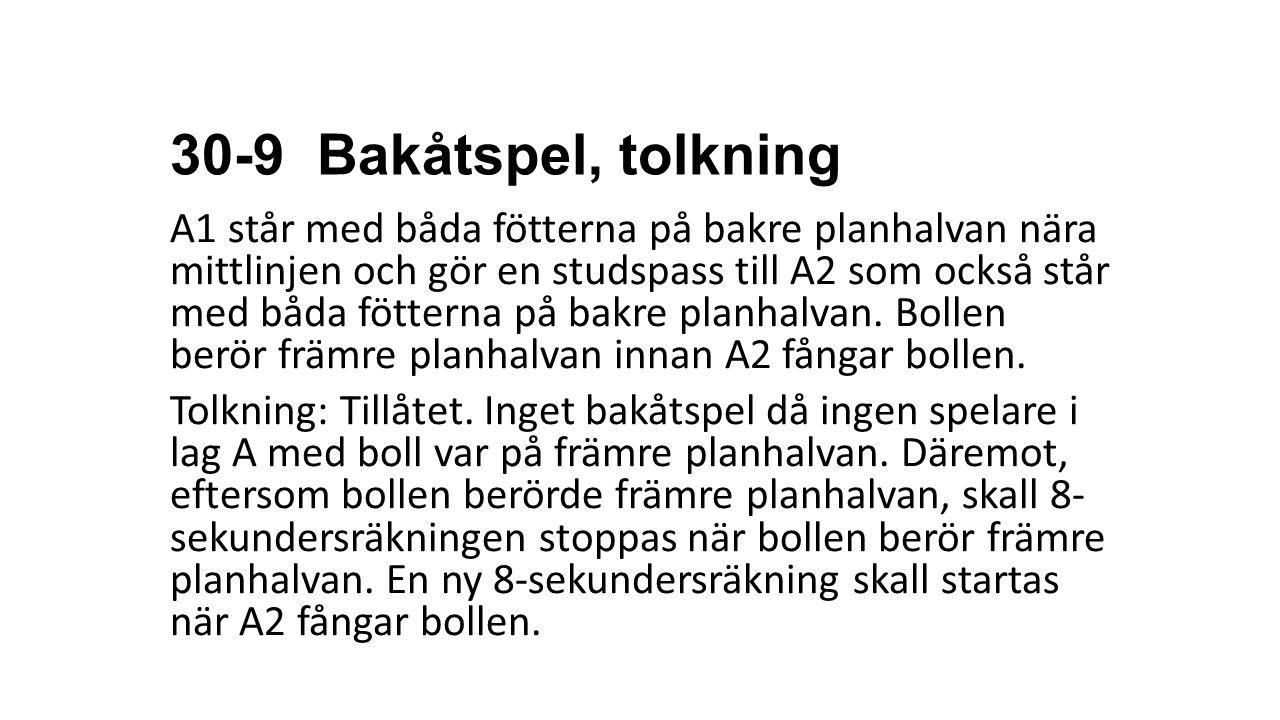 30-9 Bakåtspel, tolkning
