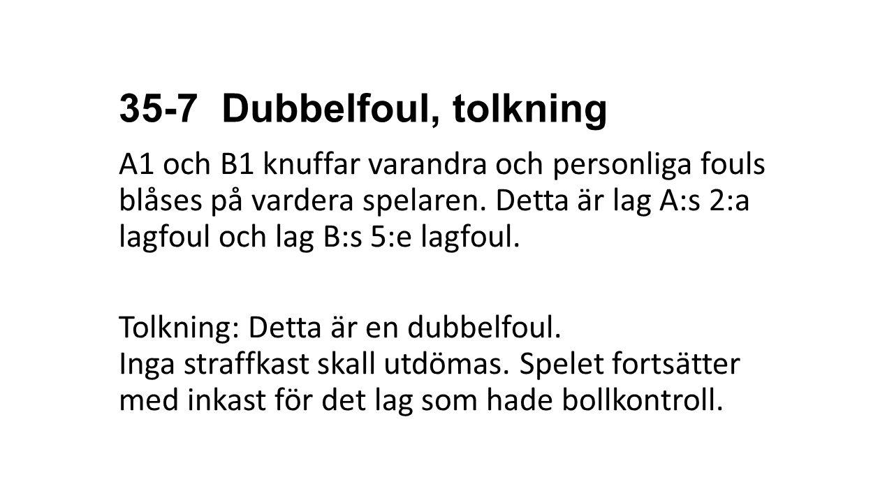 35-7 Dubbelfoul, tolkning