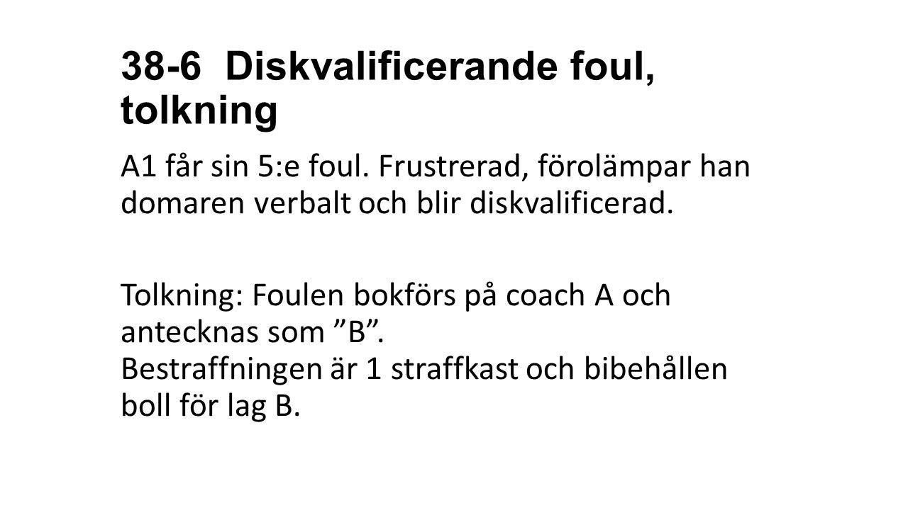 38-6 Diskvalificerande foul, tolkning