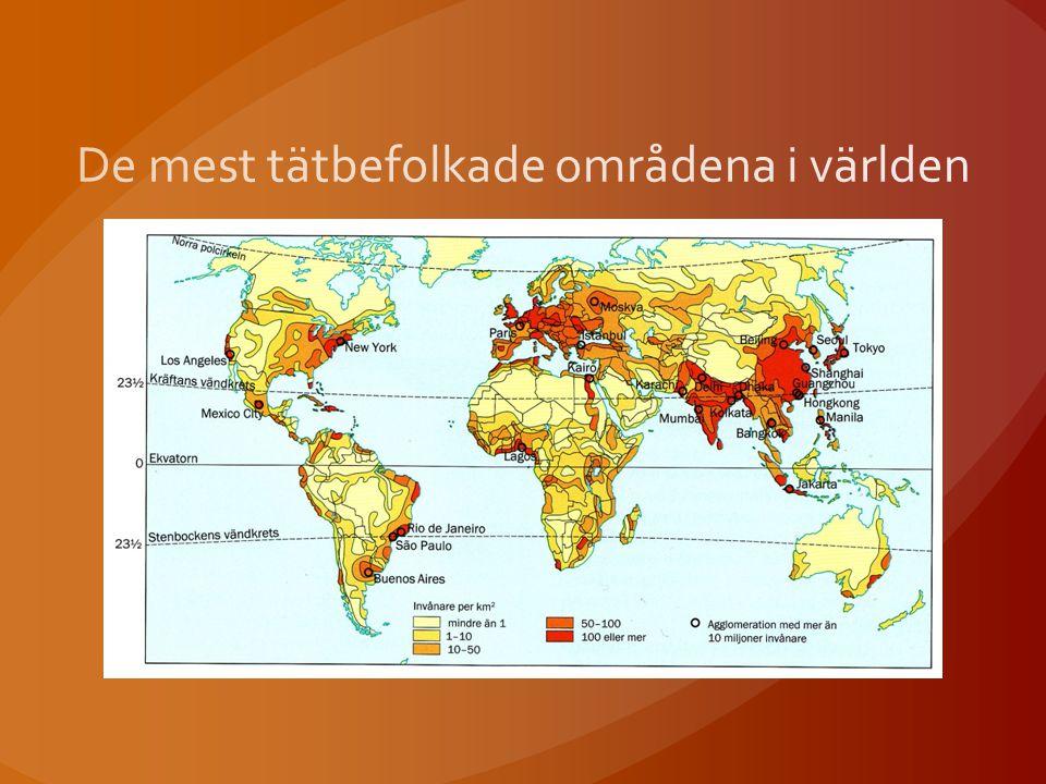De mest tätbefolkade områdena i världen