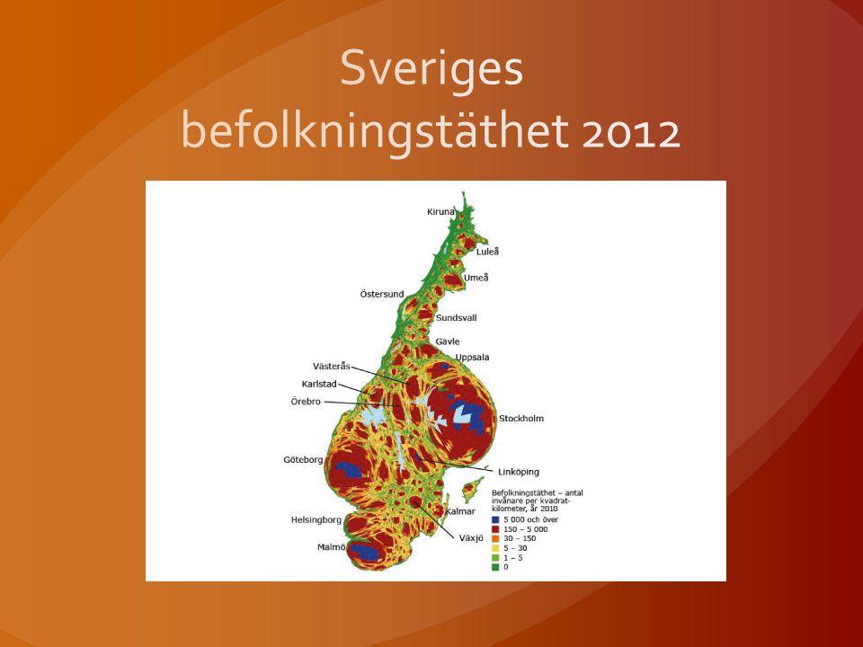 Sveriges befolkningstäthet 2012