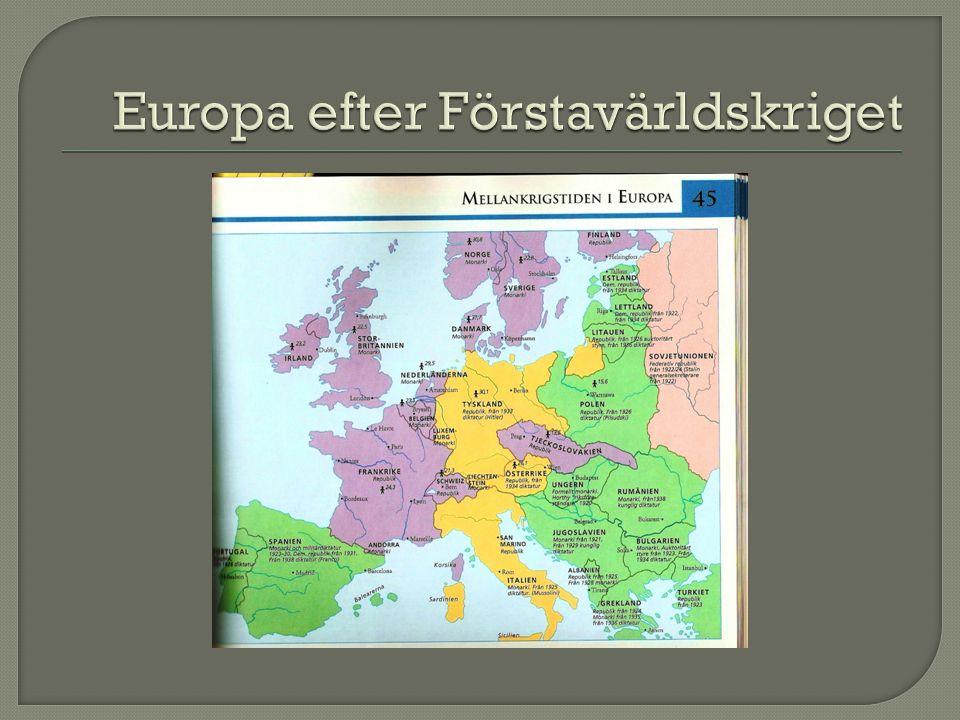 Europa efter Förstavärldskriget