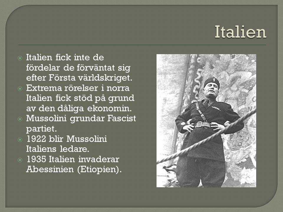 Italien Italien fick inte de fördelar de förväntat sig efter Första världskriget.
