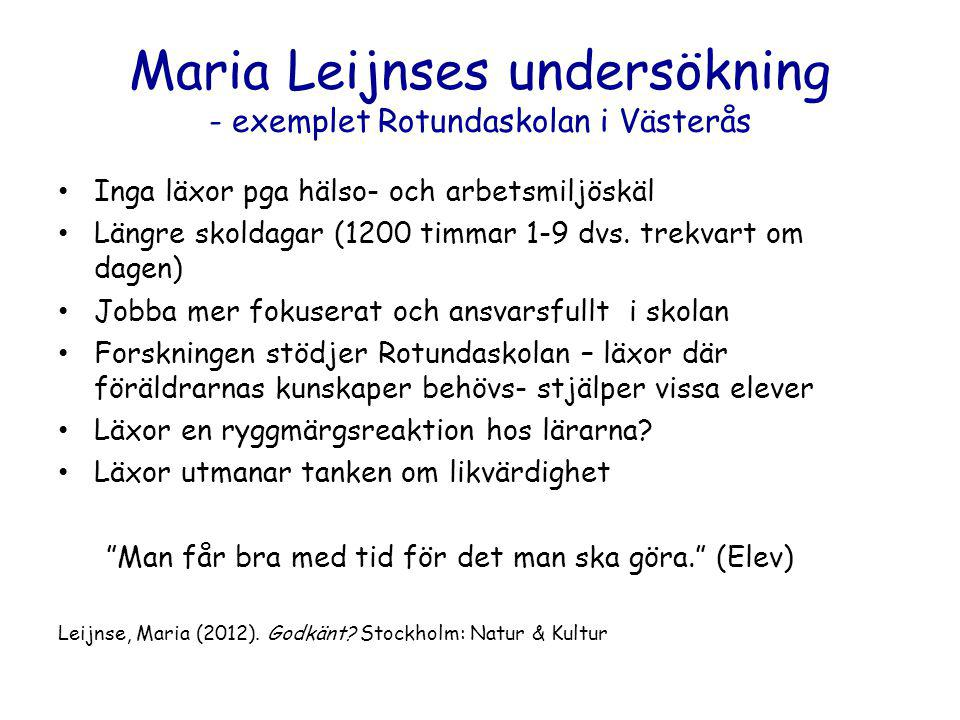Maria Leijnses undersökning - exemplet Rotundaskolan i Västerås