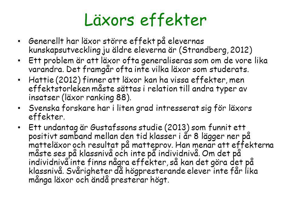 Läxors effekter Generellt har läxor större effekt på elevernas kunskapsutveckling ju äldre eleverna är (Strandberg, 2012)