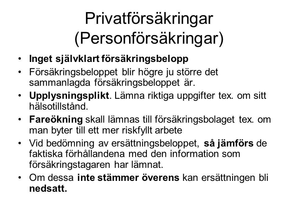 Privatförsäkringar (Personförsäkringar)