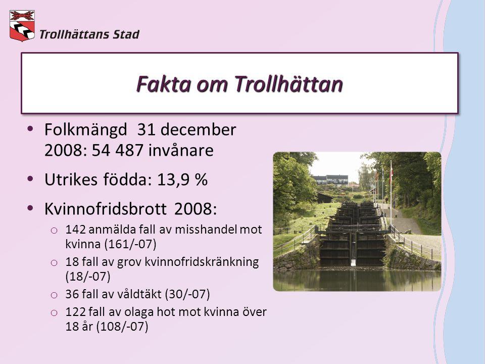 Fakta om Trollhättan Folkmängd 31 december 2008: 54 487 invånare