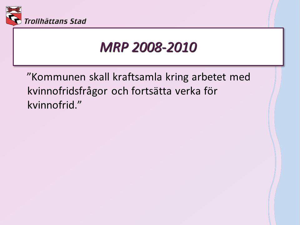 MRP 2008-2010 Kommunen skall kraftsamla kring arbetet med kvinnofridsfrågor och fortsätta verka för kvinnofrid.