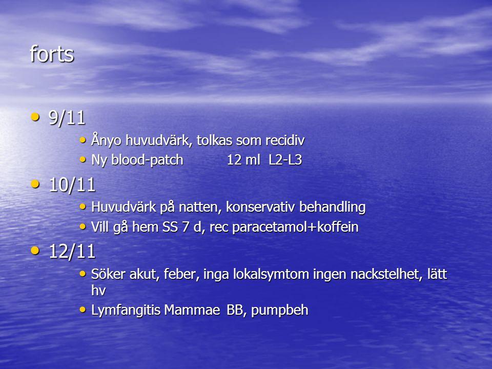 forts 9/11 10/11 12/11 Ånyo huvudvärk, tolkas som recidiv