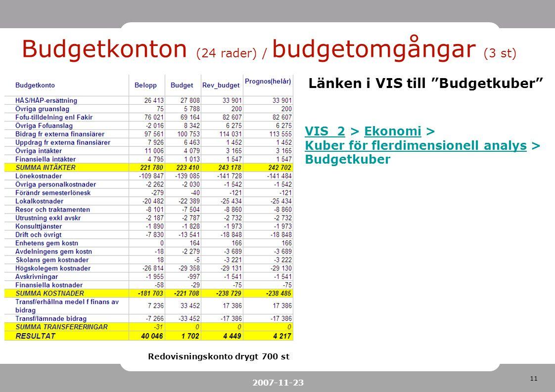 Budgetkonton (24 rader) / budgetomgångar (3 st)