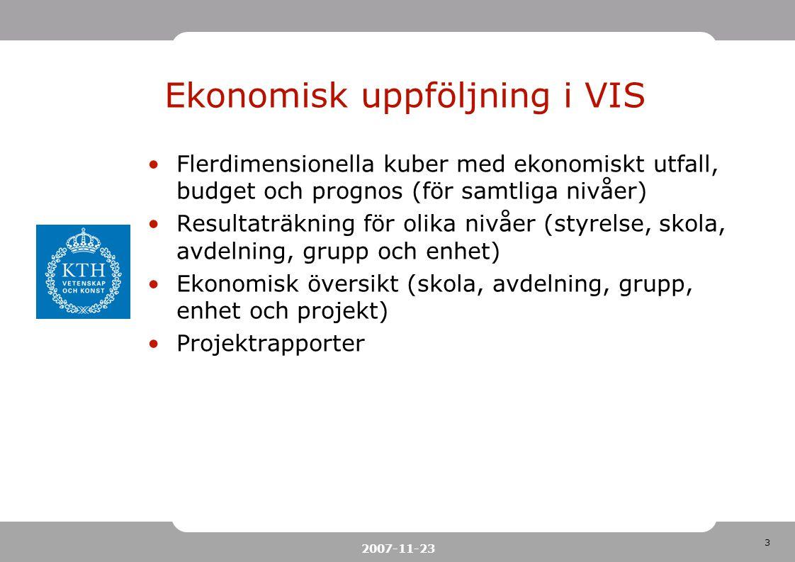 Ekonomisk uppföljning i VIS