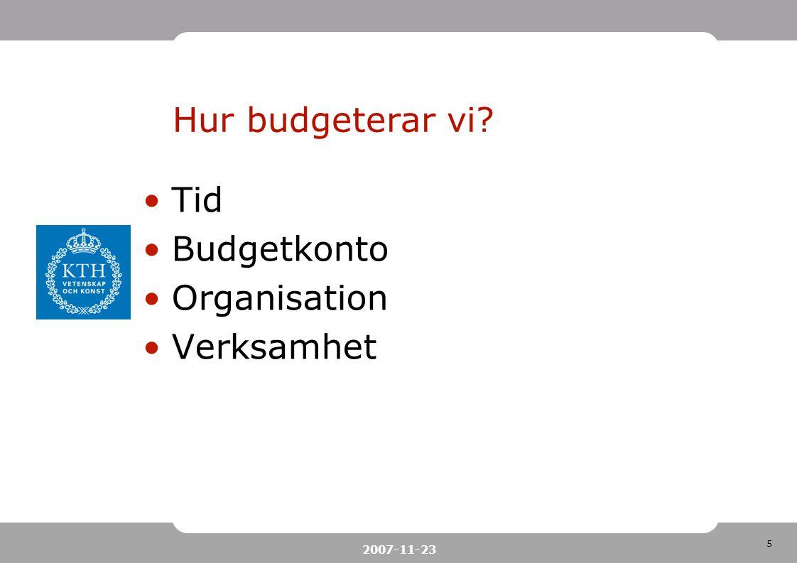 Hur budgeterar vi Tid Budgetkonto Organisation Verksamhet