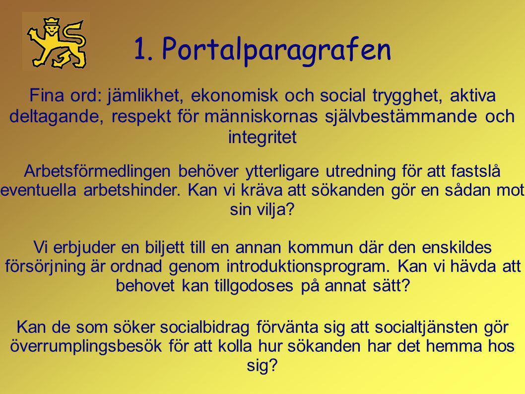 1. Portalparagrafen Fina ord: jämlikhet, ekonomisk och social trygghet, aktiva deltagande, respekt för människornas självbestämmande och integritet.