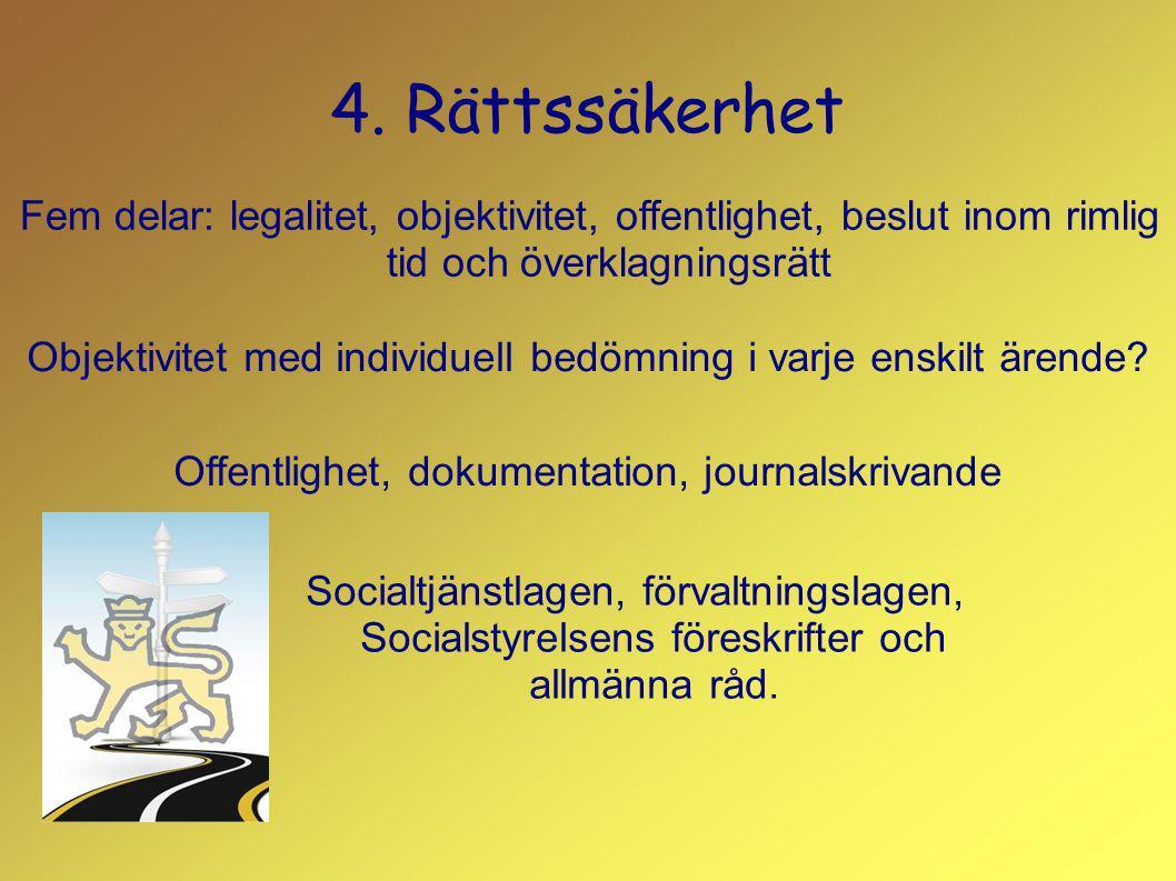 4. Rättssäkerhet Fem delar: legalitet, objektivitet, offentlighet, beslut inom rimlig tid och överklagningsrätt.