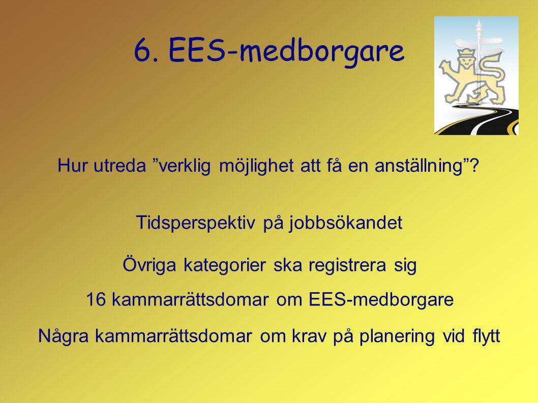 6. EES-medborgare Hur utreda verklig möjlighet att få en anställning Tidsperspektiv på jobbsökandet.