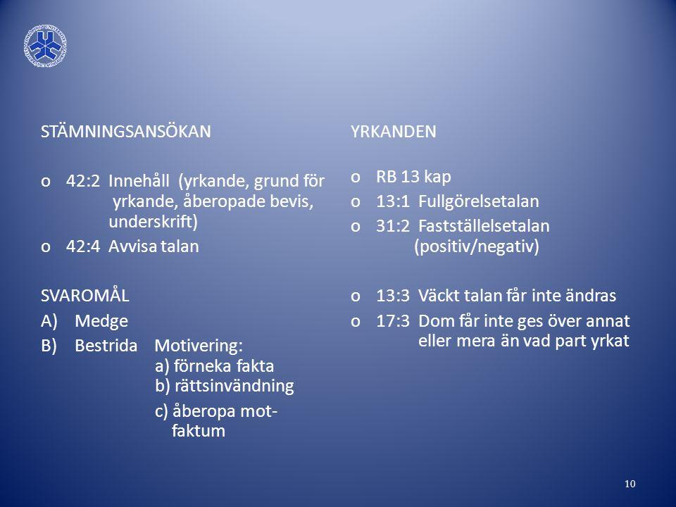 STÄMNINGSANSÖKAN 42:2 Innehåll (yrkande, grund för yrkande, åberopade bevis, underskrift)