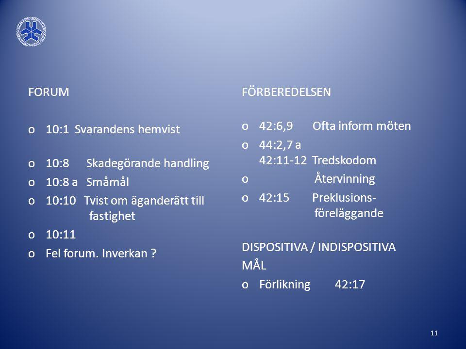 FORUM 10:1 Svarandens hemvist. 10:8 Skadegörande handling. 10:8 a Småmål. 10:10 Tvist om äganderätt till fastighet.