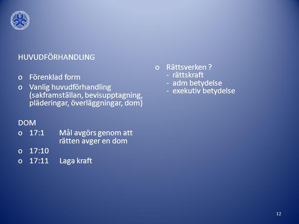 HUVUDFÖRHANDLING Förenklad form. Vanlig huvudförhandling (sakframställan, bevisupptagning, pläderingar, överläggningar, dom)