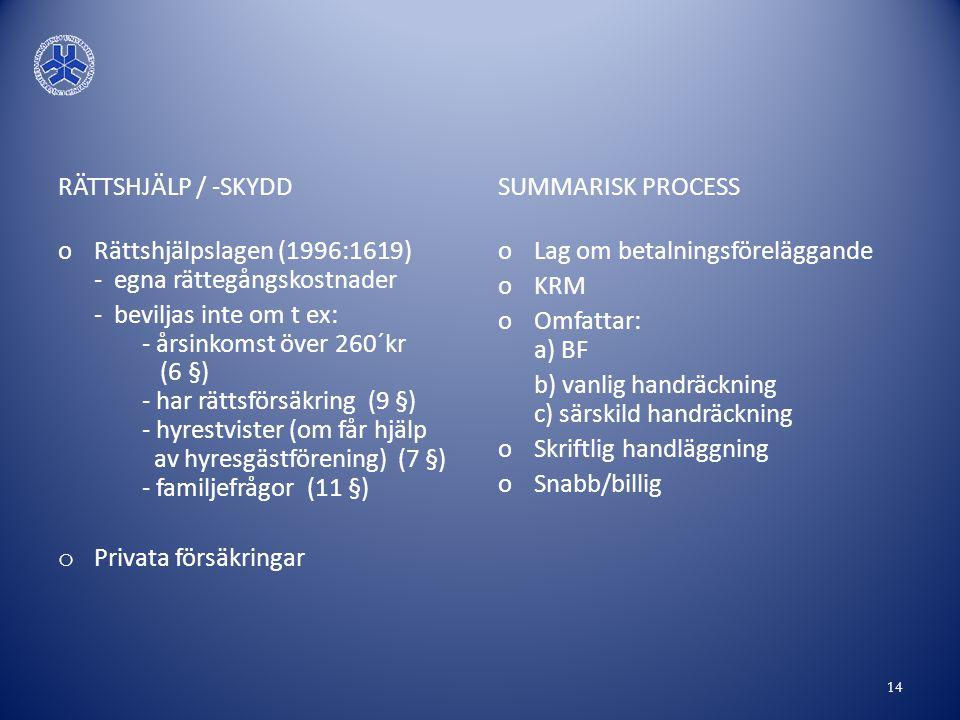 RÄTTSHJÄLP / -SKYDD Rättshjälpslagen (1996:1619) - egna rättegångskostnader.