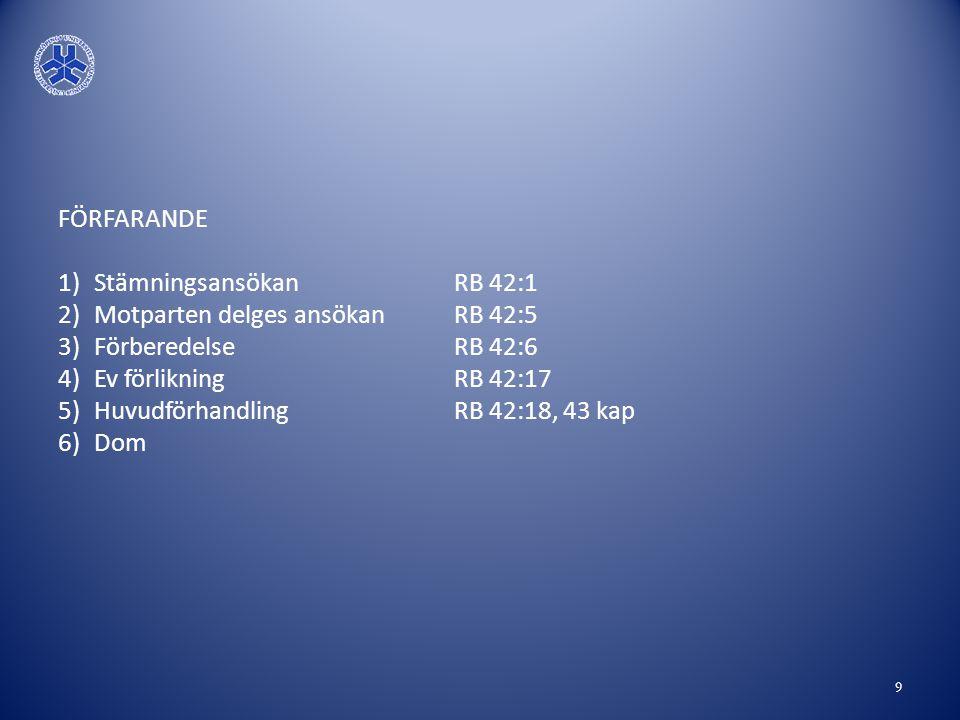 FÖRFARANDE Stämningsansökan RB 42:1. Motparten delges ansökan RB 42:5. Förberedelse RB 42:6.