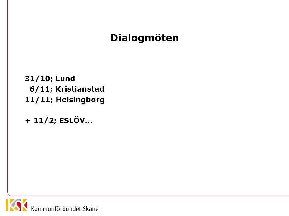 Dialogmöten 31/10; Lund 6/11; Kristianstad 11/11; Helsingborg + 11/2; ESLÖV…