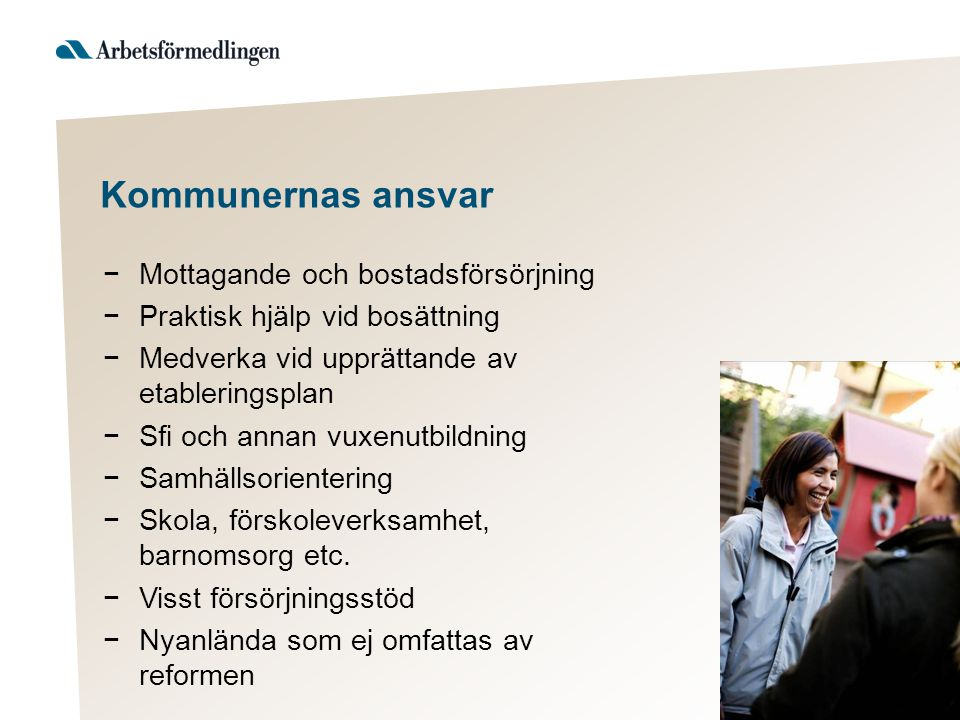 Kommunernas ansvar Mottagande och bostadsförsörjning