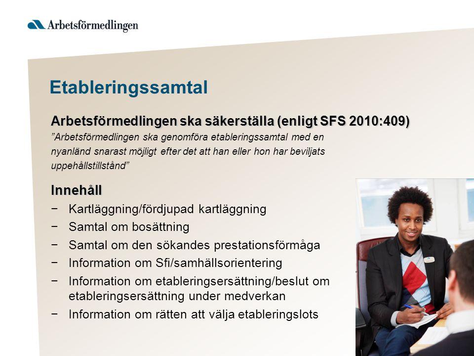 Etableringssamtal Arbetsförmedlingen ska säkerställa (enligt SFS 2010:409) Arbetsförmedlingen ska genomföra etableringssamtal med en.