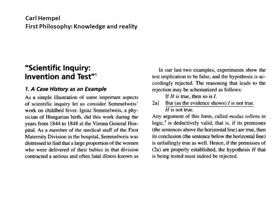 Carl Hempel First Philosophy: Knowledge and reality