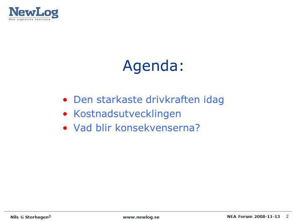Agenda: Den starkaste drivkraften idag Kostnadsutvecklingen