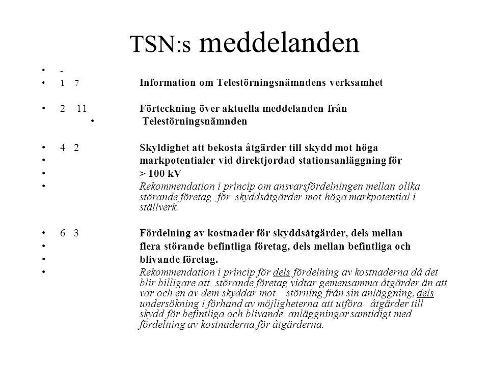 TSN:s meddelanden 2 11 Förteckning över aktuella meddelanden från
