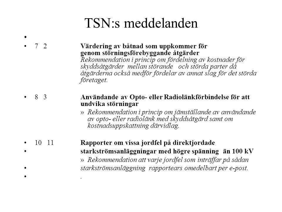 TSN:s meddelanden
