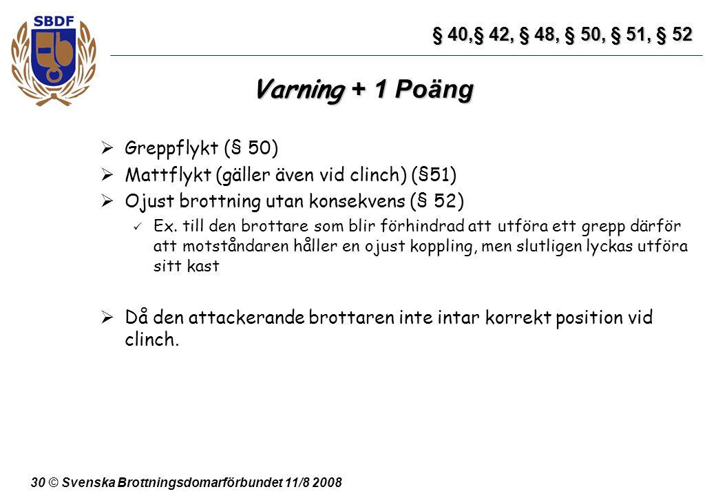 Varning + 1 Poäng § 40,§ 42, § 48, § 50, § 51, § 52 Greppflykt (§ 50)