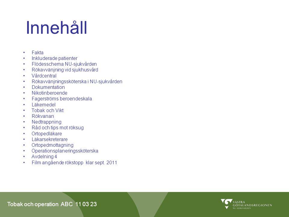 Innehåll Fakta Inkluderade patienter Flödesschema NU-sjukvården