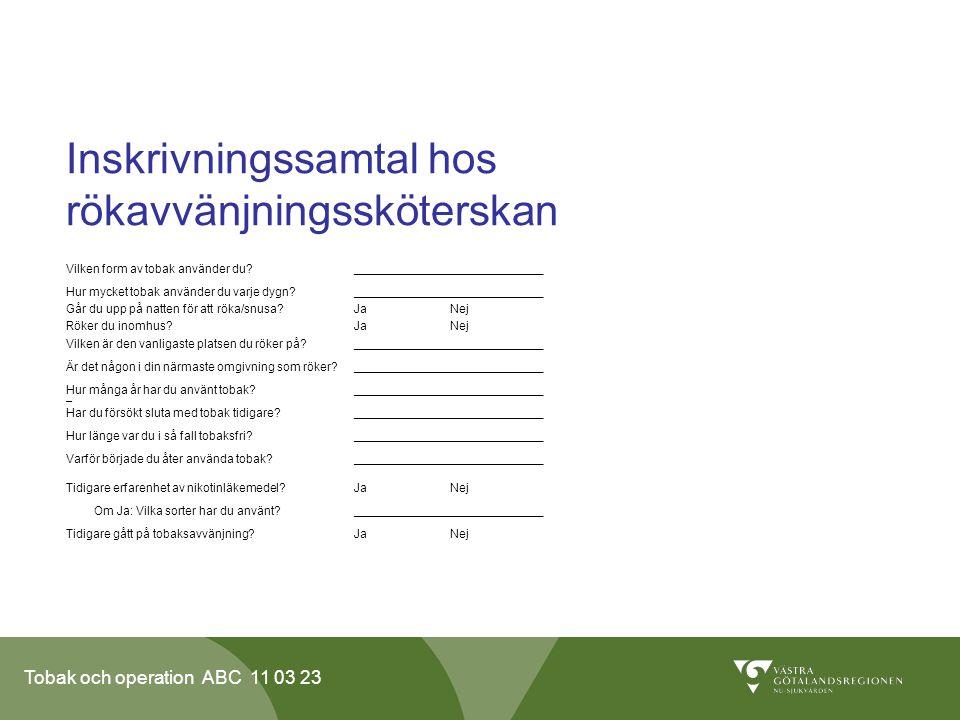 Inskrivningssamtal hos rökavvänjningssköterskan