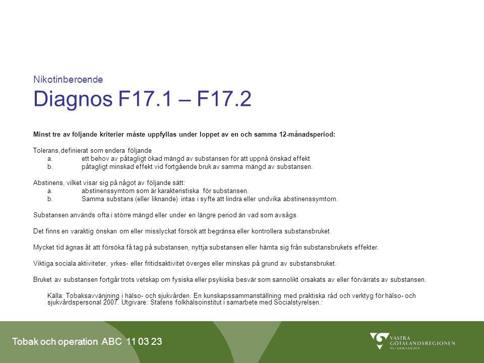 Nikotinberoende Diagnos F17.1 – F17.2