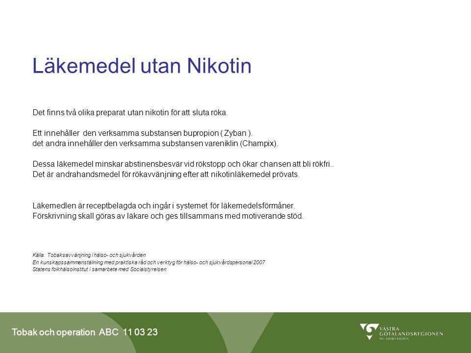 Läkemedel utan Nikotin