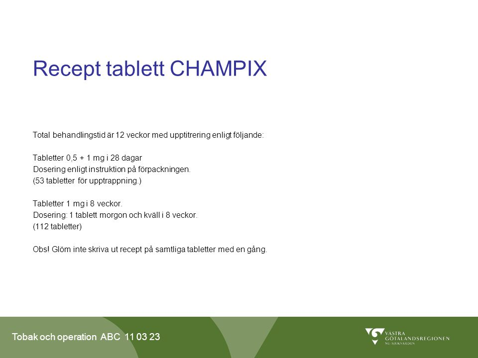 Recept tablett CHAMPIX