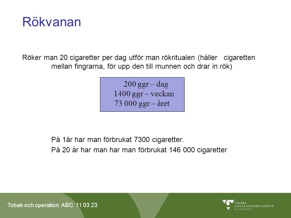 Rökvanan 200 ggr – dag 1400 ggr – veckan 73 000 ggr – året