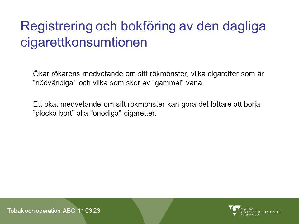 Registrering och bokföring av den dagliga cigarettkonsumtionen