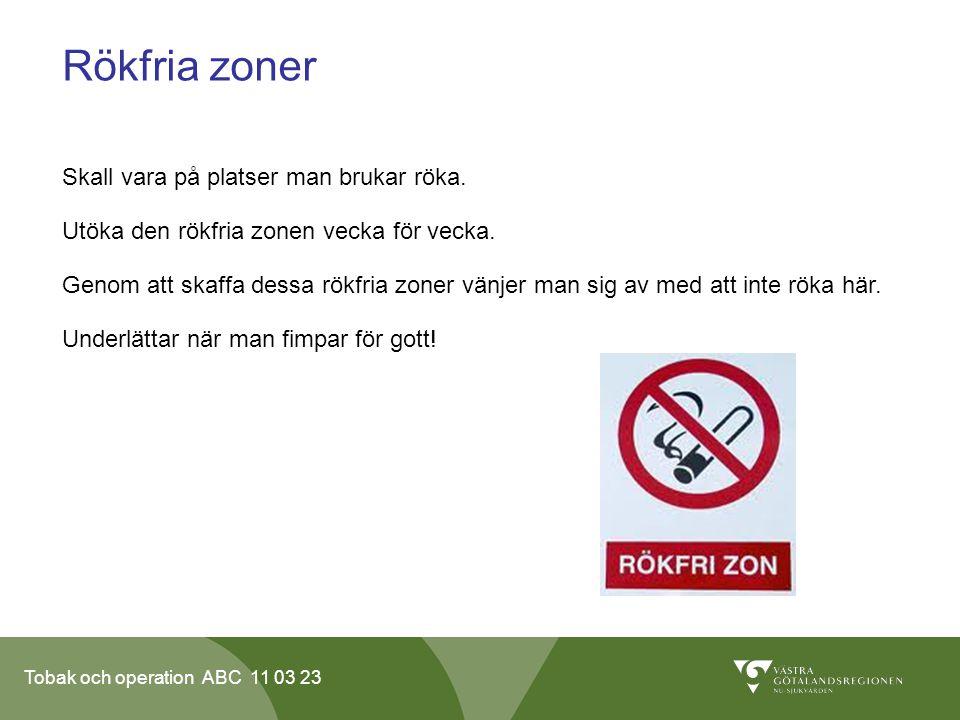 Rökfria zoner Skall vara på platser man brukar röka.
